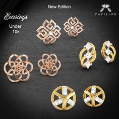 """""""Oh! so many #earrings #under10k... new arrivals just for you! """"  #diamondearrings #goldearrings #lightwightearrings #workwearstyle #onlinejewellery"""