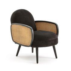 Velvet armchair and caning, bush La Redoute Interieurs
