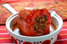 Recipe: Stuffed Bell Pepper with Ground Beef and Rice Summary: Croatian Recipe Retro Food Ingredients 10 large bell peppers 500 g (1 lb 2 oz) ground beef (or mixed meat) 1 onion, finely chopped 2 g...