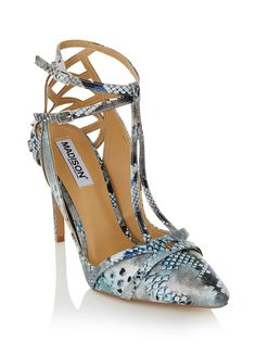 T-bar heels with ankle strap Metallic