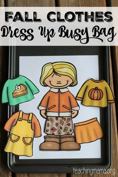 Fall Clothes Dress Up Busy Bag {Free Printable} (Teaching Mama) Educational Activities, Learning Activities, Preschool Activities, Preschool Education, File Folder Activities, Folder Games, E Learning, Lerntyp Test, Montessori