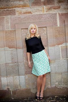 Vintage double knit A-line skirt in a CUTE green retro pattern perfect for spring (and St. Patrick's Day!) by missfancypantspinup