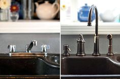 Change an ugly kitchen faucet out at a rental...only out $60ish dollars and could take with you when you go. {apartment therapy}