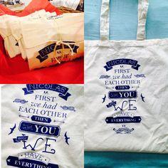 Bolsas de manta impresas en serigrafía para babyshower