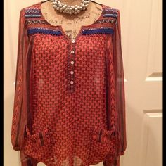Adorable Free People Sheer Tunic!! Soft flowing fabric with great detail throughout this top. Please note: This top runs large. It is tagged as an XS but fits more as a Medium to Small. Never worn and in Excellent condition!! Free People Tops