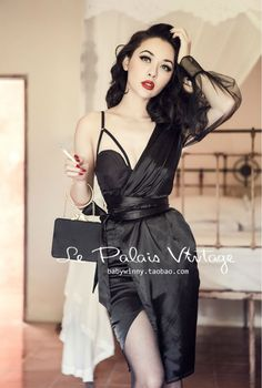 Aliexpress.com : Buy FREE SHIPPING Le Palais Vintage Sexy Black Satin shoulder corset irregular sleeve dress wrapped yarn asymmetrical from Reliable dress hand suppliers on Vintage Palace  | Alibaba Group