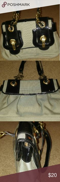 Beautiful Dress Purse Greenish Grey purse with patent leather black accent and gold hardware. Great condition. Very durable purse. Bags Shoulder Bags