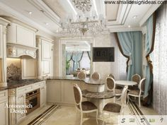 2ff1dae8804b Modern Rococo design of the kitchen with stucco ceiling and marble floor  Элитные Кухни, Интерьер
