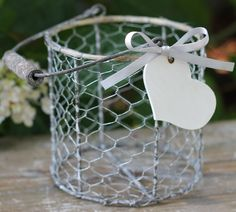 Flower Girl Basket, Vintage Inspired,  Wire With Wood Handle, Personalized Heart, Rustic Wedding, Shabby Chic Wedding. $36.50, via Etsy.  #DBBridalStyle
