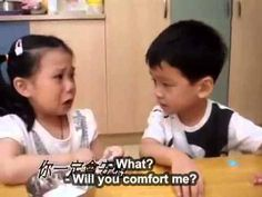 Adorable Boy Comforts Girl On First Day Of School In Taiwan