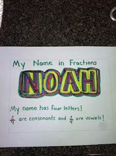 Fractions with a twist! The idea is to have students integrate language arts into their math lessons by creating fractions with their names. Teaching Fractions, Math Fractions, Teaching Math, Dividing Fractions, Teaching Ideas, Equivalent Fractions, Math Resources, Math Activities, Fraction Activities