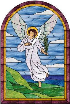 Stained Glass Angels | Angel and Seashore Stained Glass Window Panel