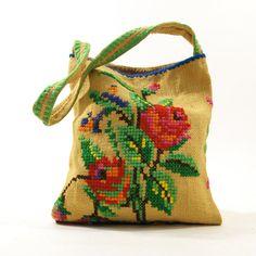 70s Embroidered Burlap Shoulder Bag by SpunkVintage on Etsy