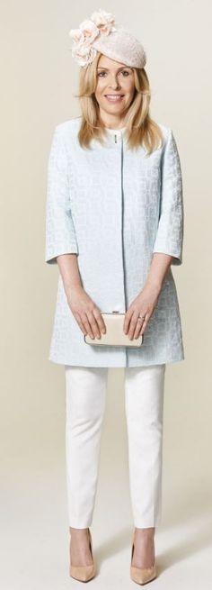 Blue coat, £99, marksandspencer.com Hat, £35, coast.com Trousers, £95, reiss.com Clutch...
