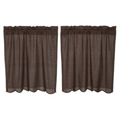 Bring a primitive look to any window with the Kettle Grove Plaid Tier Scalloped Lined Set with its black and tan micro check fabric. Primitive Country Homes, Primitive Bedroom, Primitive Quilts, Primitive Antiques, Primitive Decor, Cafe Curtains, Kitchen Curtains, Primitive Kitchen Cabinets, Farmhouse Style Kitchen