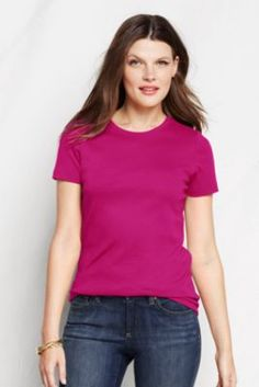 Women's Short Sleeve Shaped 1x1 Rib Crew T-shirt from Lands' End