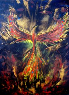 Original Painting Phoenix - Mythical Sacred Fire Bird  - Abstract Acrylic Bird Art - Contemporary Modern Stretched Ready To Hang. $145.00, via Etsy.