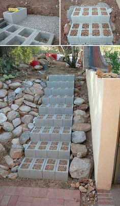 The Best 23 DIY Ideas to Make Garden Stairs and Steps. - Build outdoor steps with cinder blocks, then fill in the holes with small pebbles to ensure nobody sprains an ankle by tripping on one of the holes. #landscapingandoutdoorspaces