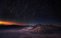mountains, sky, stars, night, universe, shooting stars, space