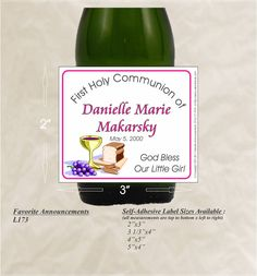 Custom bottle labels with a chalice for a First Holy Communion. Communion labels are a perfect way to dress up your champagne, sparkling cider, wine bottles, gift or favor bags, favor boxes, bubbles, and more. Personalized labels add a personal touch to any occasion: baptism, holy communion, christening, bar mitzvah, bat mitzvah and more! Colors can easily be changed to match your theme! NO PRINTING REQUIRED  *************** HOW TO ORDER:  1. Select your quantity. (If you need more than the…