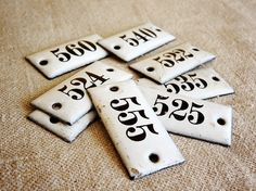 small vintage enamel numbers from Germany. Available at AtticAntics, $13.50