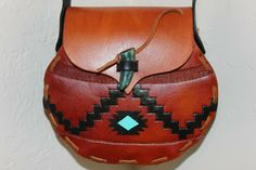 Hand Tooled & Hand Painted Leather Purse, Southwest Pot, OOAK, Chacho Leather #ChachoLeather Leather Tooling, Tan Leather, Leather Purses, Hand Carved, Hand Painted, Painting Leather, Hand Tools, Purses And Handbags, Leather Backpack