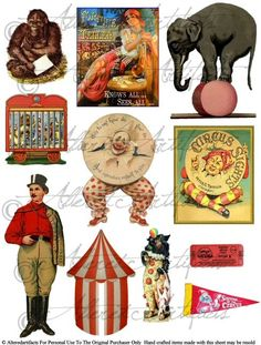 Instant Download Big Top Clowns for your Puppet Theater Digital Collage Sheet Vintage Clip Art Scraps via Etsy