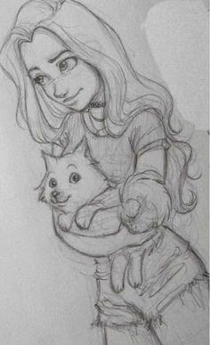 Fabulous Drawing On Creativity Ideas. Captivating Drawing On Creativity Ideas. Girl Drawing Sketches, Pencil Art Drawings, Cat Drawing, Drawing People, Cool Drawings, Painting & Drawing, Cute Drawings Of People, Manga Girl Drawing, Cute Girl Drawing