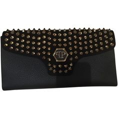 Pre-owned clutch (€599) ❤ liked on Polyvore featuring bags, handbags, clutches, black, pre owned handbags, preowned handbags, pre owned purses and philipp plein