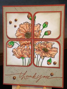 Thank You Card - Stamps:  Penny Black Fresh, Stampin' Up Wonderful Words, Background Stamp by Club Scrap - Inks:  Memento Tuxedo Black, Stampin' Up Really Rust, Stampin' Up Sahara Sand - Faber-Castell Polychromos Pencils:  186, 187, 188, 283, 108, 112, 266 - Nuvo Crystal Drops Copper Penny - Paper:  Bazzill Burnging Ember, Stampin' Up Sahara Sand - Inspiration: http://www.stampinup.net/esuite/home/joloves2stamp/project/viewProject.soa?id=490996