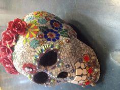 Large Day of the Dead mosaic skull by Mary Clark Camargo ©newstoneagemosaics2013