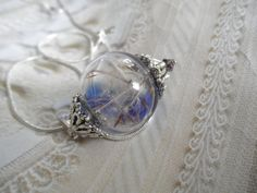 Dandelion Seed Clear-Royal Blue Glass by giftforallseasons on Etsy