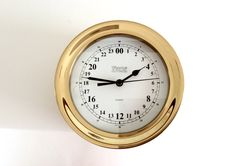 24 Hour Clock by Weems & Plath in a nautical design solid, forged brass lacquered case Gift for Dad / Husband / Son / Father's Day / Grandpa by AtoZCherishedVintage on Etsy