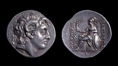 Silver coin showing #AlexandertheGreat wearing the rams horns of #Zeus (made between 305 and 281 BC). reverse is Greek goddess #Athena Nikephoros, bringer of #victory , carrying her spear and shield. She is the divine patroness of #Greeks and a goddess of war. But it's not Alexander that she's favouring, because the Greek letters beside her tell us that this is the coin of King Lysimachus, one of Alexander's generals and companions.
