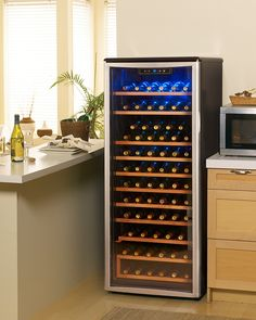 This executive-class Danby Designer wine cellar is the perfect way to showcase your esteemed wine collection as it can store and chill up to 75 bottles of your favorites with its impressive 10.6 cubic-foot capacity. Great for any wine lover.