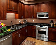 "Kitchen Cabinets Cherry Wood modern flat panel - ""shaker"" style - red cherry wood kitchen"