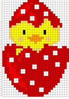 Pulcino dentro l'uovo in pixel art realizzato con il codice.