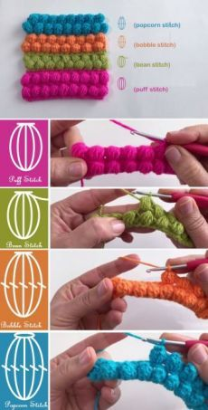 Crochet Stitches – Puff, Bean, Bobble, Popcorn Today we are so happy that we are going to touch a topic that so many people fail to understand in all clearness. Crochet lovers always seem to ask qu. Beau Crochet, Puff Stitch Crochet, Crochet Diy, Crochet Amigurumi, Tunisian Crochet, Love Crochet, Crochet Crafts, Crochet Projects, Bobble Crochet