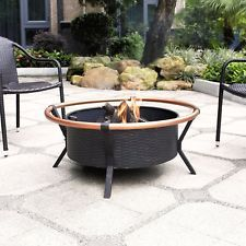 Yuma Copper Ring Firepit in Black - Crosley unique flair to your outdoor gatherings with the Crosley Yuma Outdoor fire pit. Constructed of durable steel, the Yuma features a tough, all-weather powder-coated finish. Its deep bowl design will Copper Fire Pit, Metal Fire Pit, Wood Burning Fire Pit, Small Fire Pit, Round Fire Pit, Fire Pit Furniture, Outdoor Furniture, Backyard Furniture, Furniture Ideas