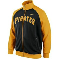 Pittsburgh Pirates Track Jacket 1.4 by Nike.  This is a mid weight full zip track jacket.  Includes two front zipper pockets and embroidered team name on the front.  100% polyester.