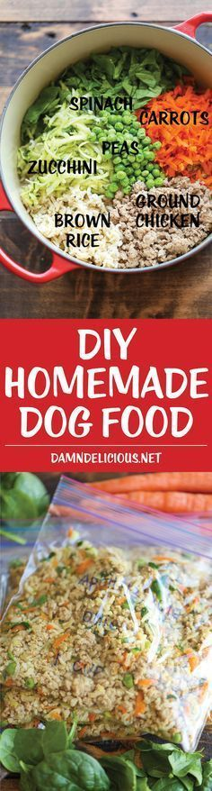 DIY Homemade Dog Food - Keep your dog healthy and fit with this easy peasy homemade recipe - it's cheaper than store-bought and chockfull of fresh veggies!                                                                                                                                                                                 More