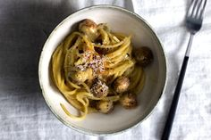 Mandy Lee of Lady and Pups puts an Asian spin on traditional Italian spaghetti alla carbonara.