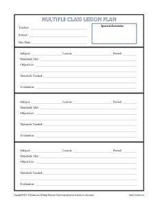 elementary daily lesson plan template