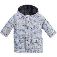 Fendi - Baby Boys Pale Blue 'Roma' Printed Coat | Childrensalon