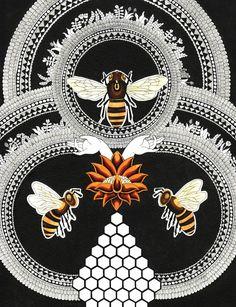 Honey Love, Pen and ink. by Inge Vandormael Buzzy Bee, I Love Bees, Vintage Bee, Bee Design, Beehive Design, Bee Art, Save The Bees, Bee Happy, Bees Knees