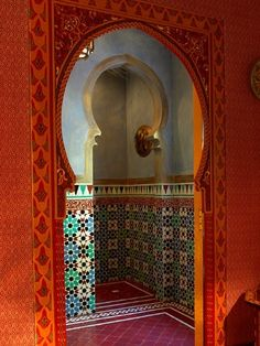 Moroccan style shower -- there it is the paprika + aquamarine! It is inescapable now!!!