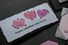 Thumbprint Valentine's Cards - bugs, birds, and hearts