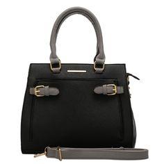VK1659 Black - Colourblock Tote Bag With Pocket Decorate