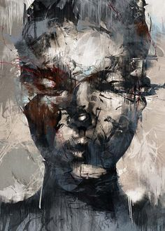 Guy Denning is a self taught English contemporary artist and painter based in France. He is also one of the most important painters on the Urban Art scene. Abstract Portrait, Portrait Art, Portraits, Dark Artwork, Marc Chagall, A Level Art, Art Abstrait, Face Art, Art World