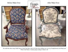 Chalk Paint: Duck Egg Blue Chair with Toile Fabric. Stunning